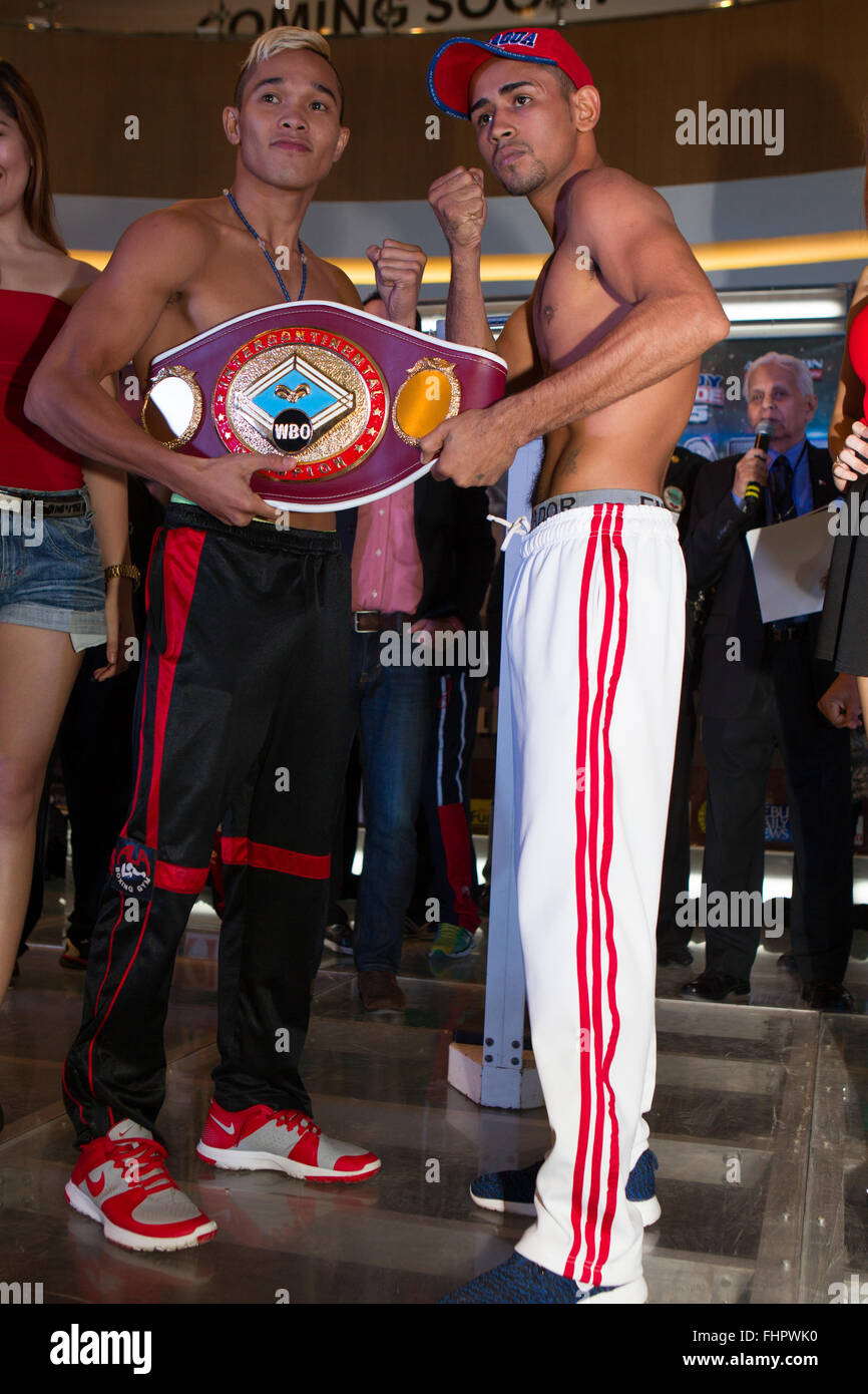 Cebu city, Philippines. 26th February, 2016. Weigh-In for Pinoy Pride 35 'Stars of The Future' Top billing - Stock Image