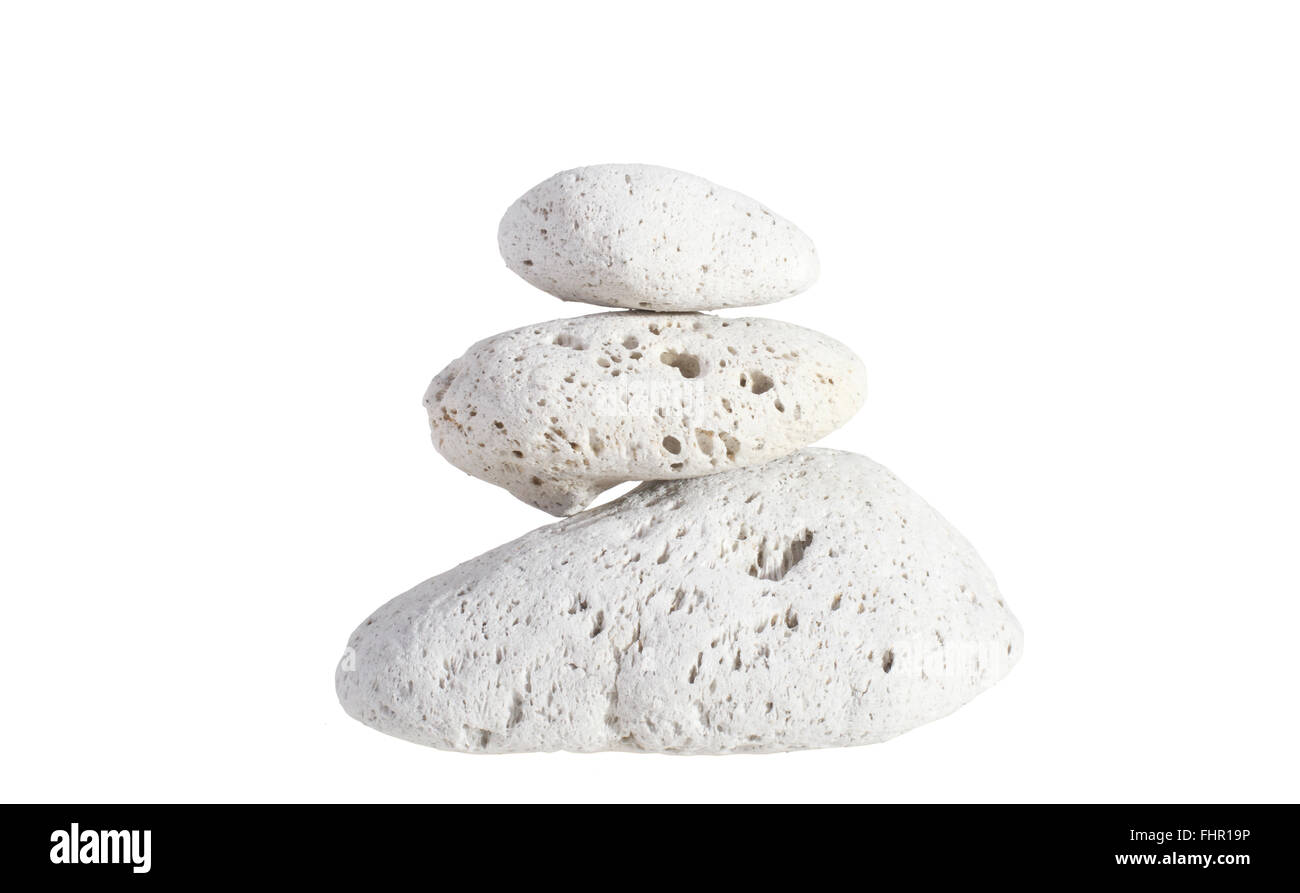 Pumice stone stack of three isolated on white background - Stock Image