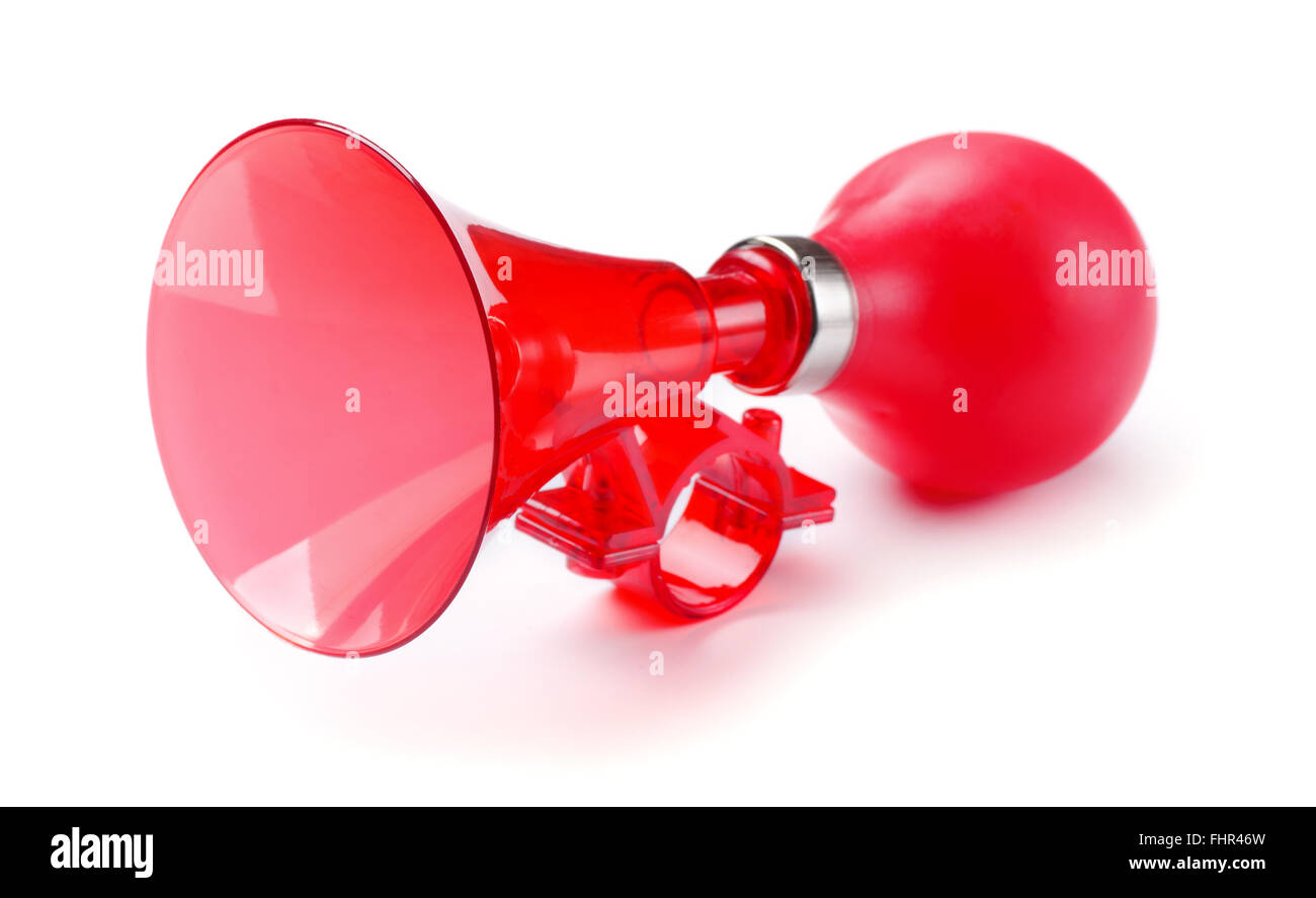 Red bicycle air horn isolated on white background - Stock Image