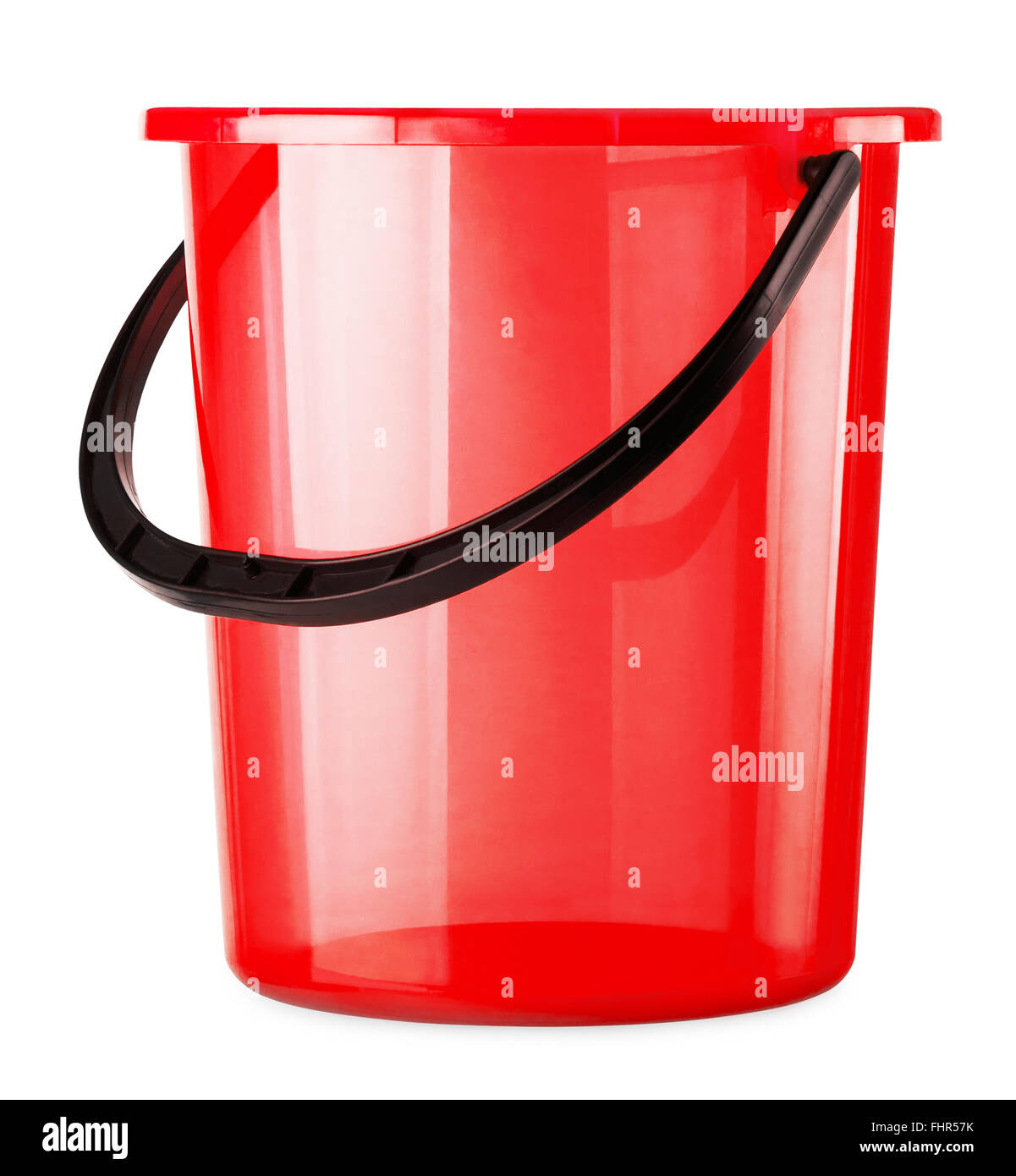 Empty red bucket isolated on a white background - Stock Image