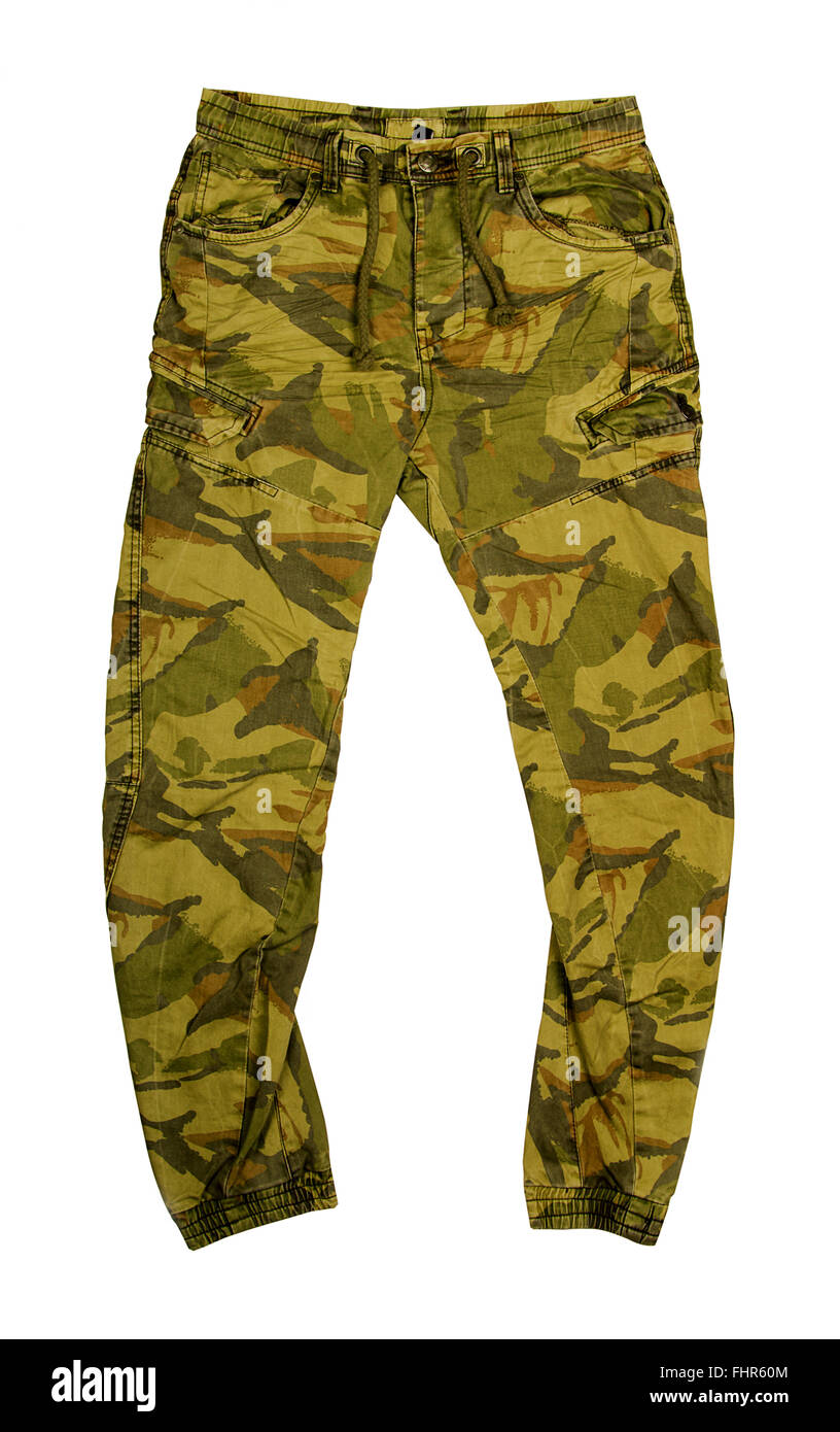 Camouflage green pants isolated on white background - Stock Image