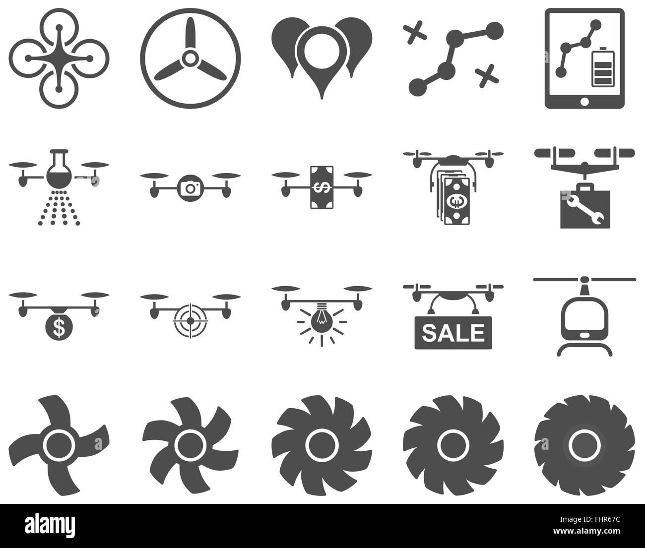 Air drone and quadcopter tool icons - Stock Image