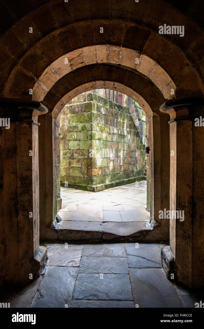 ancient doors in a medieval castle - Stock Image