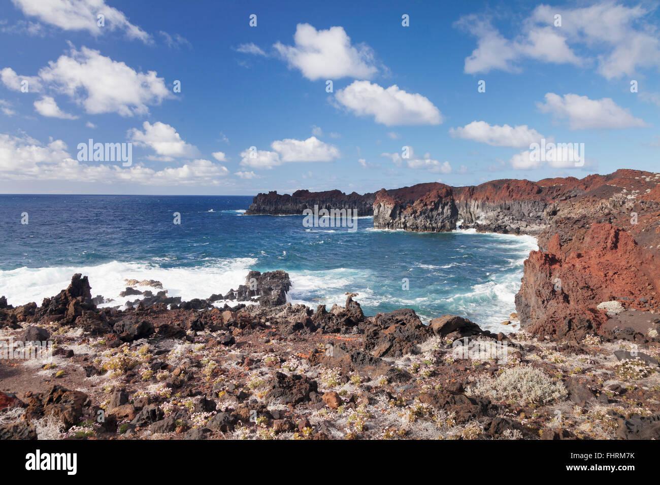 Steep rocky coast, Punta de Gutierrez, El Hierro, Canary Islands, Spain - Stock Image