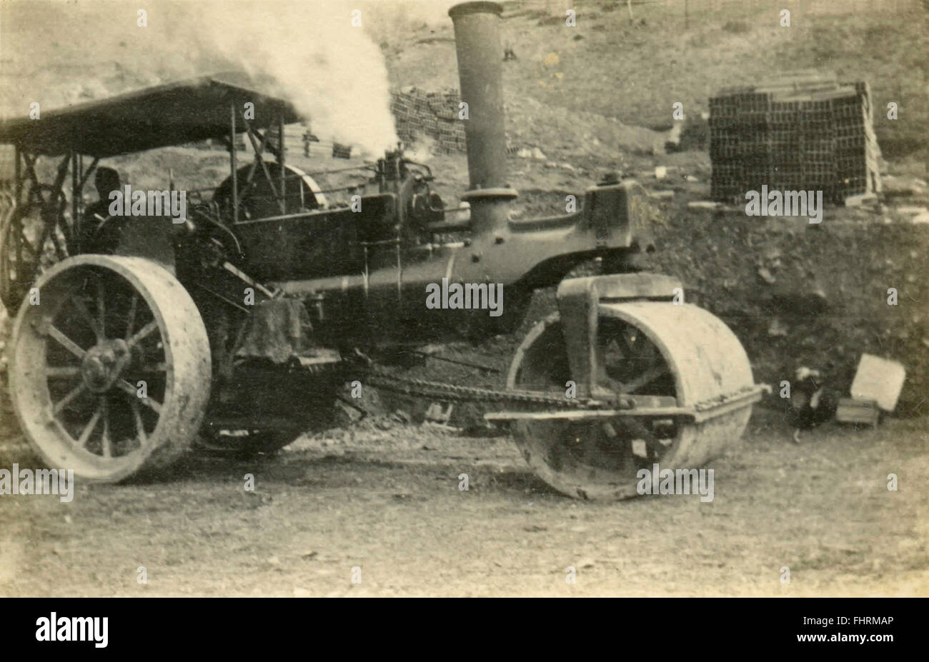 Primitive steamroller, Italy - Stock Image