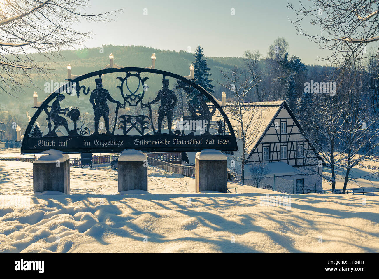 Diaphragm arches at the History of Mining Museum Silberwäsche, Winter, Antonsthal, Breitenbrunn in the Ore - Stock Image