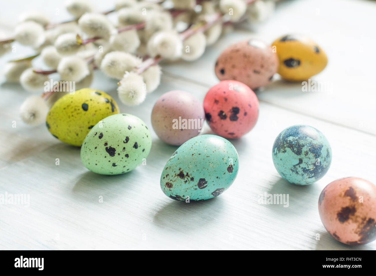 Easter eggs and cherry flowers abstract retro background - Stock Image