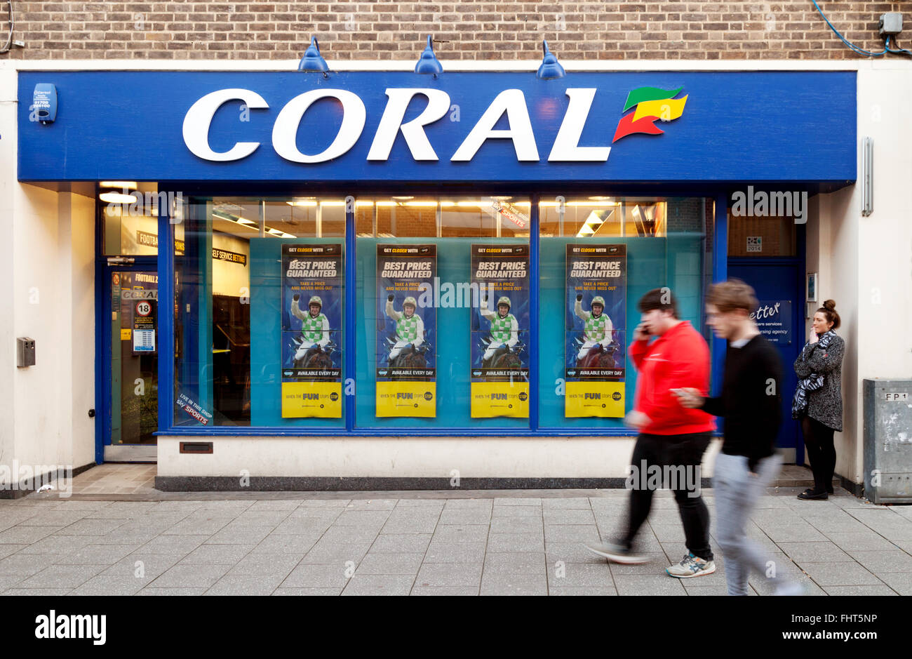 A Coral betting shop or Bookmakers, Burleigh Street, Cambridge UK - Stock Image