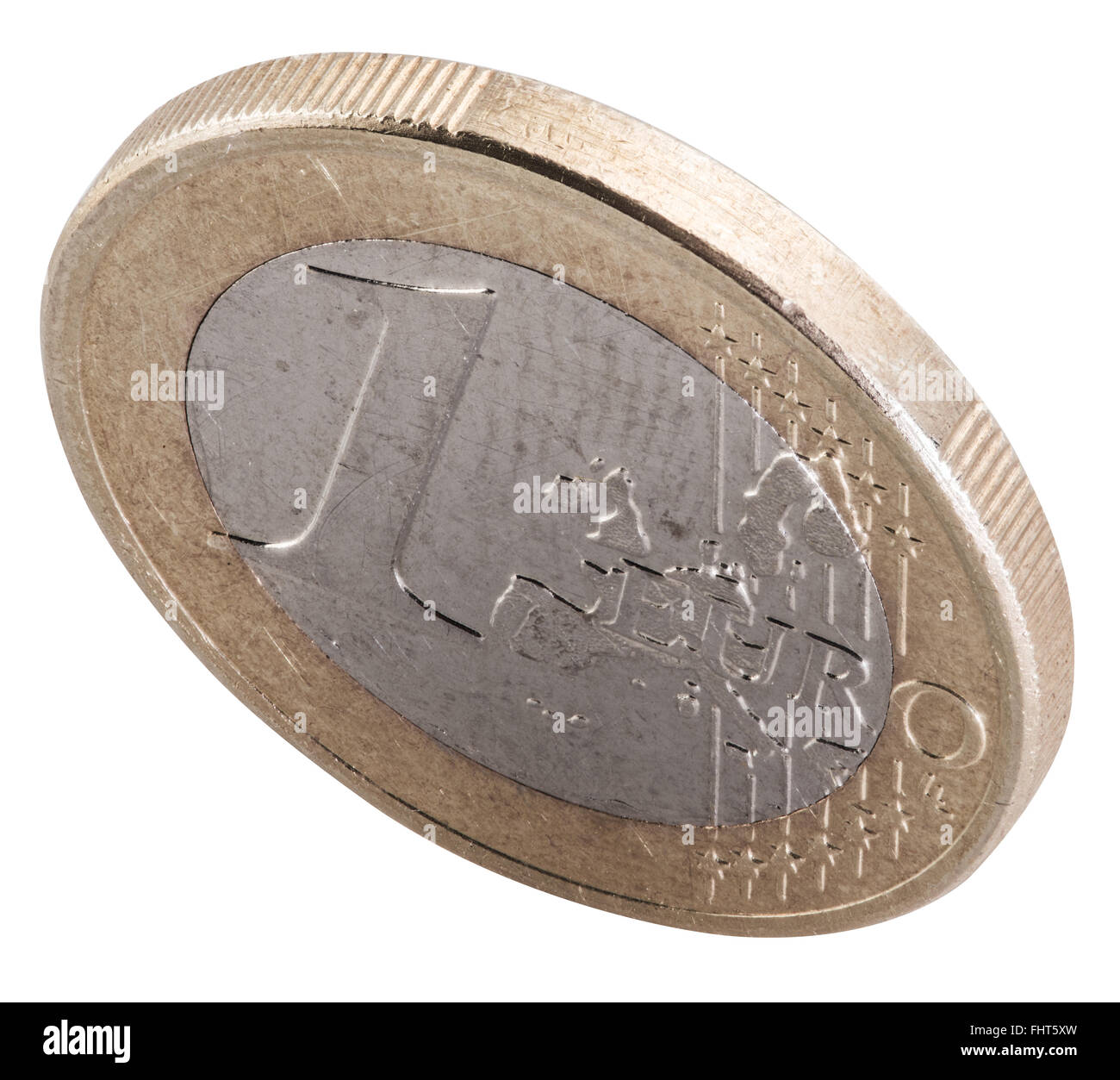 Old one euro coin isolated on a white background. File contains clipping paths. - Stock Image