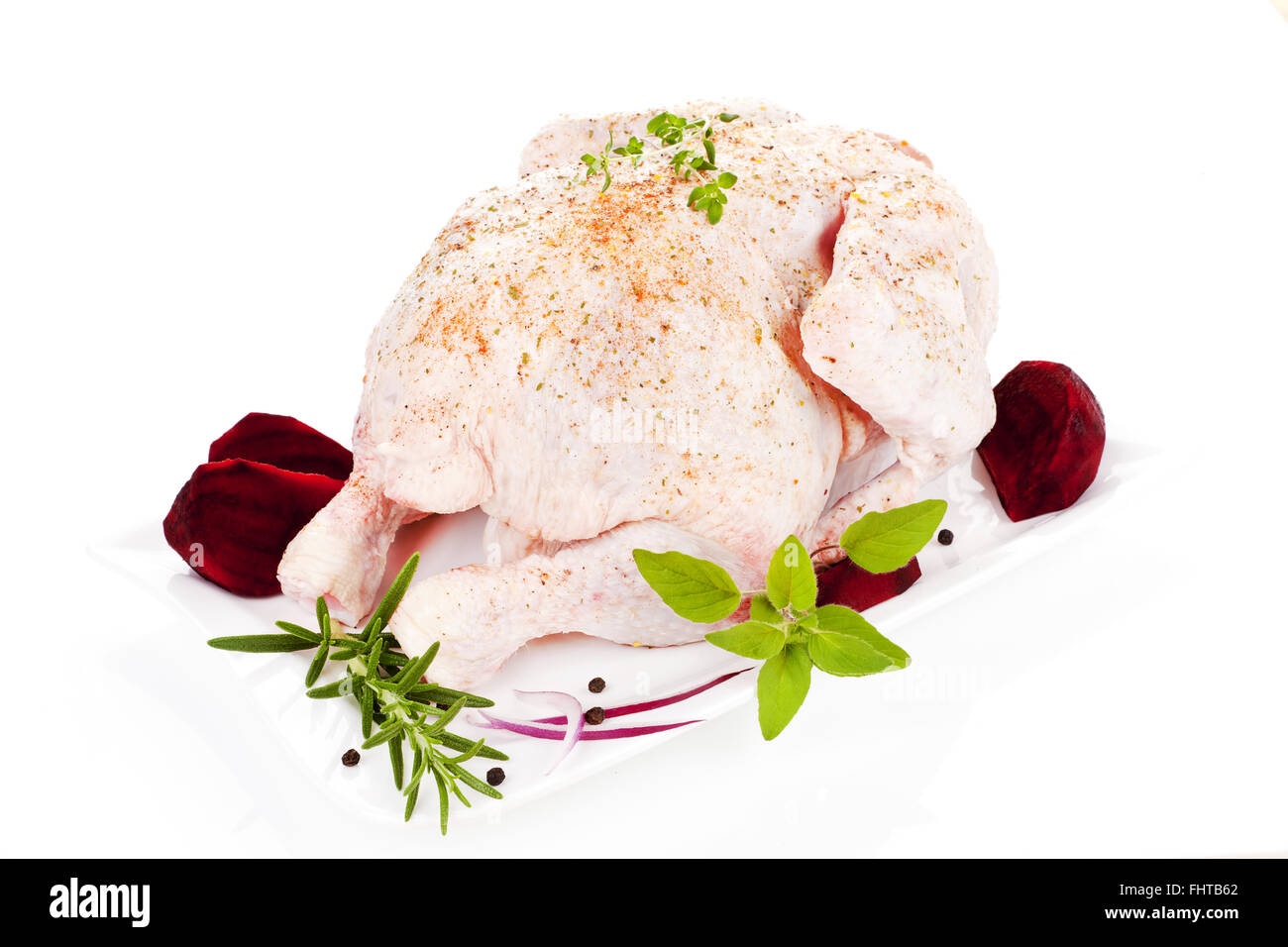 Raw whole chicken. Poultry. - Stock Image
