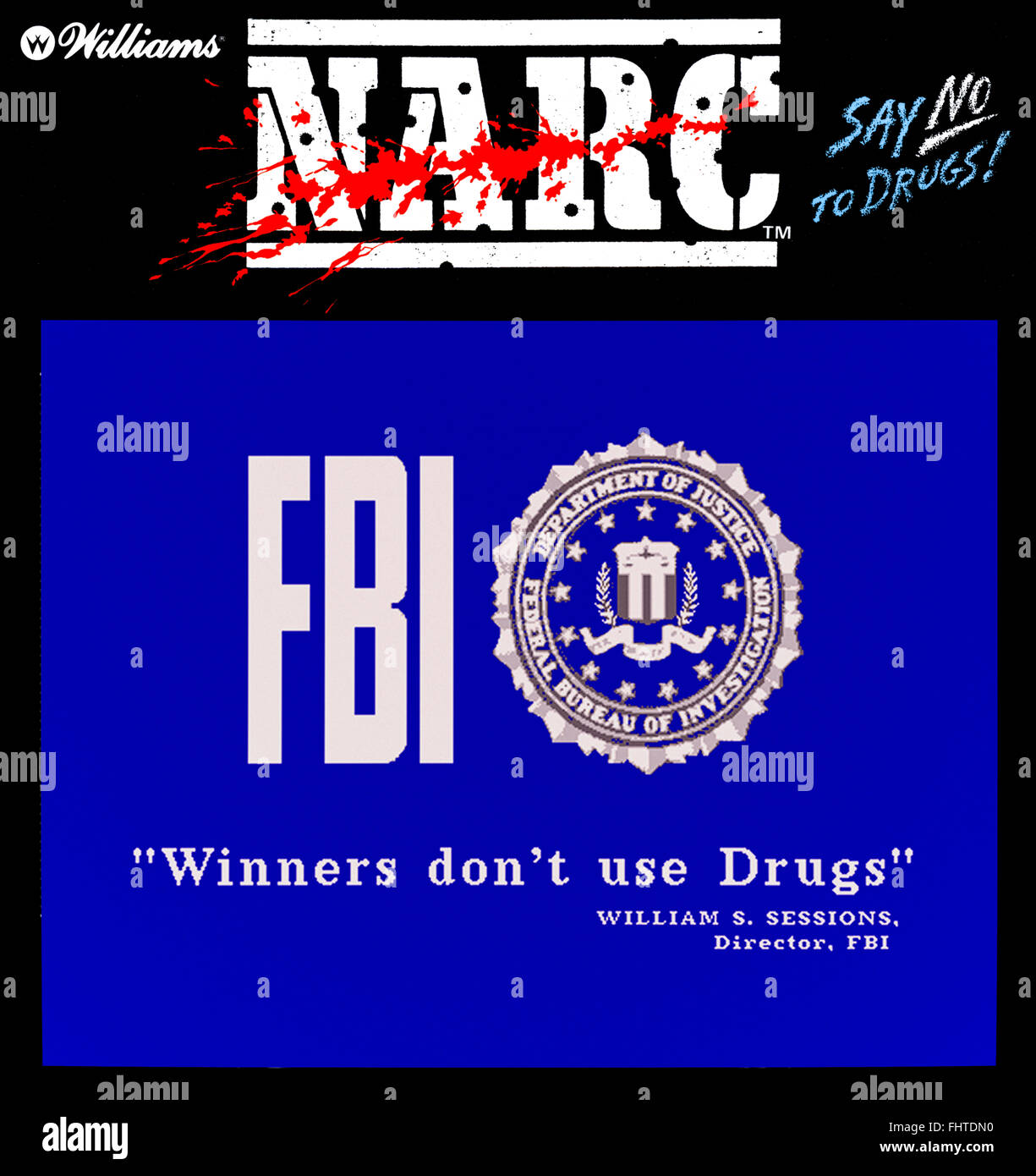 Narc' arcade game produced by Williams in 1988 featuring the
