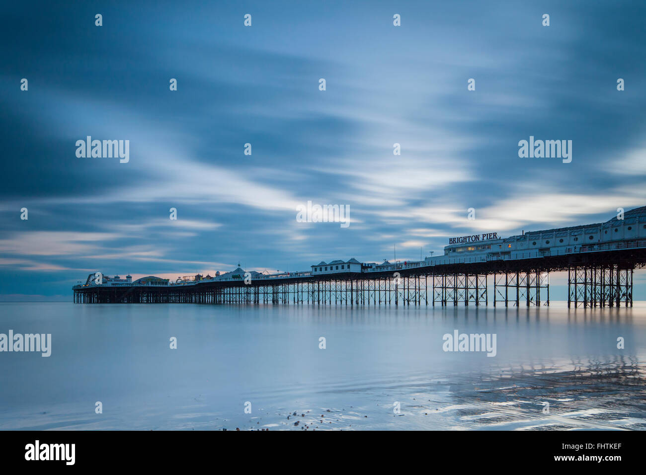Evening at Brighton Pier, East Sussex, England. - Stock Image