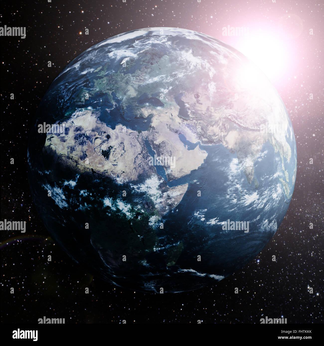 Earth in space showing Europe,Asia and Africa. - Stock Image