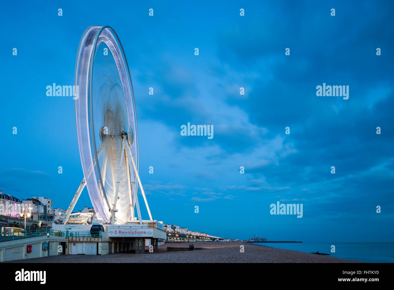 Evening at Brighton Wheel, East Sussex, England. - Stock Image