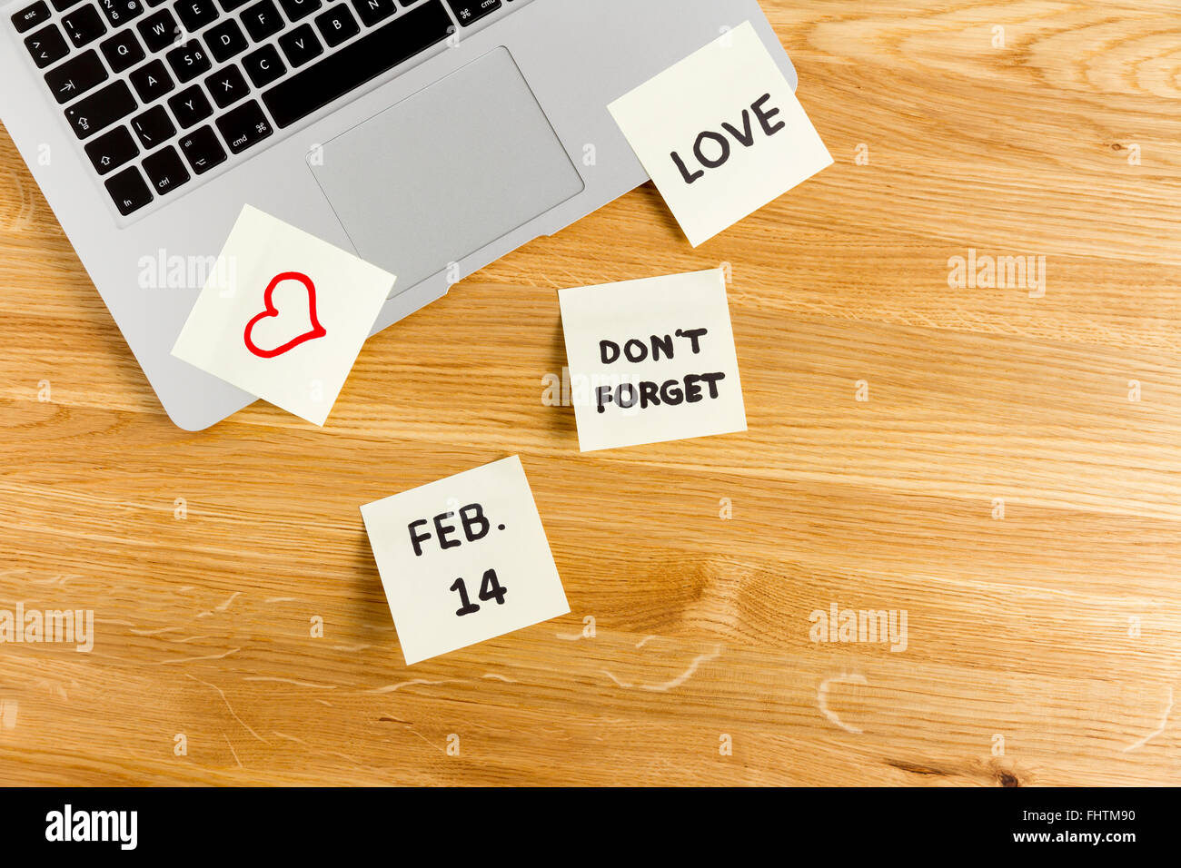 Valentine's Day concept, office remember with postit - Stock Image