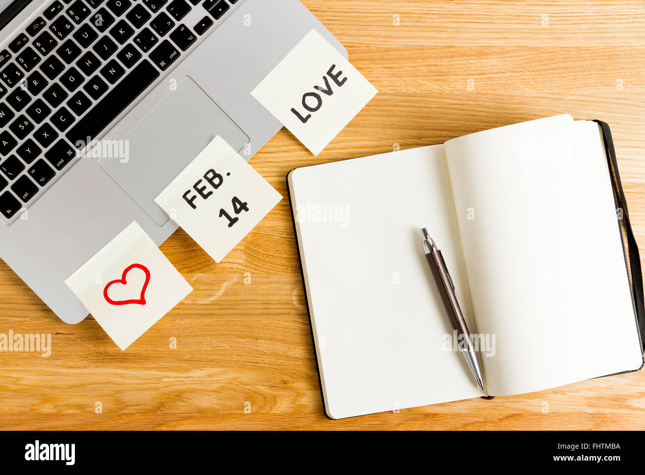 Valentine's Day concept, office remember, message on postit - Stock Image