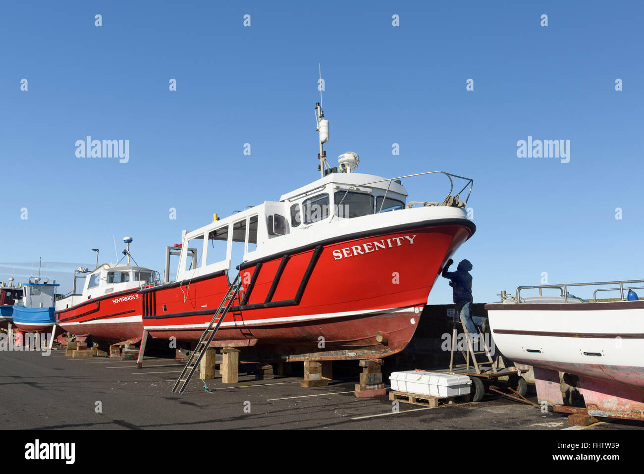 Seahouses Harbour in Northumberland - Stock Image
