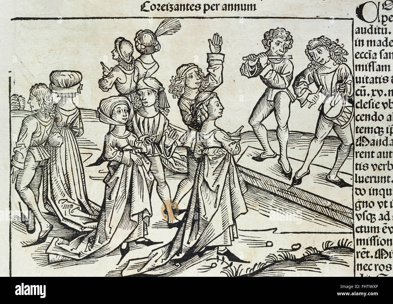 Germany. Magdeburg. 16th century. Party. Musicians playing and people dancing. Engraving in 'Liber Chronicorum', - Stock Image