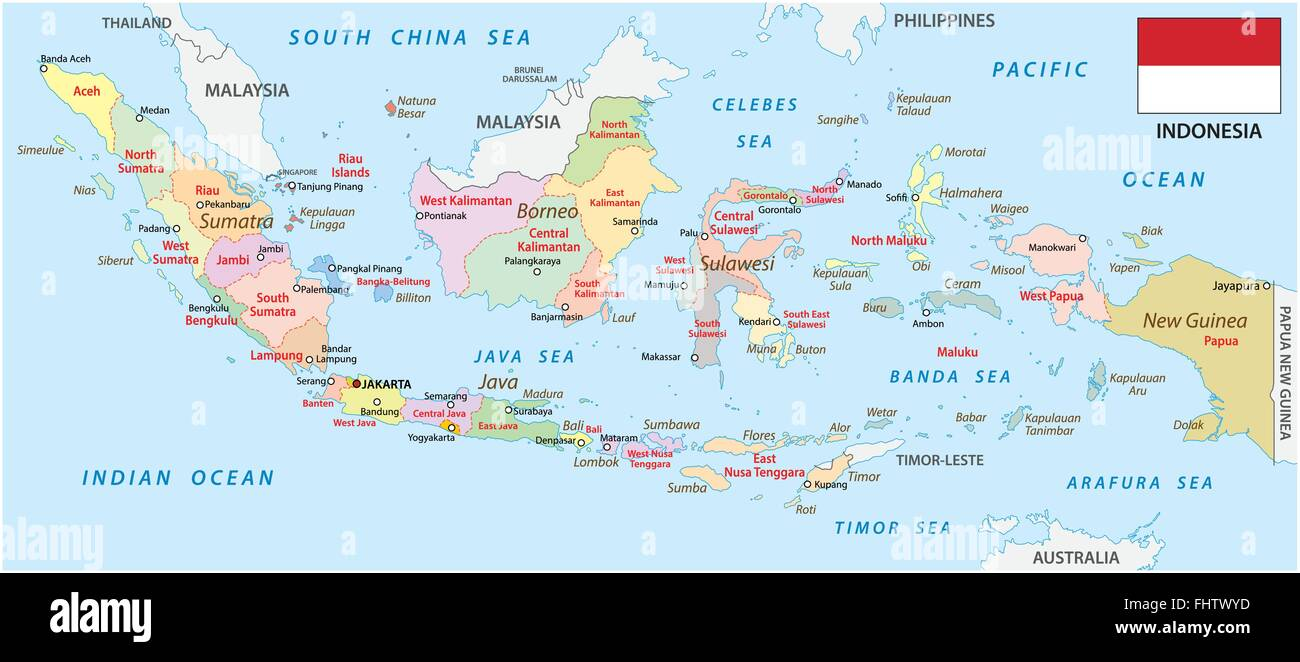 indonesia administrative map with flag - Stock Vector