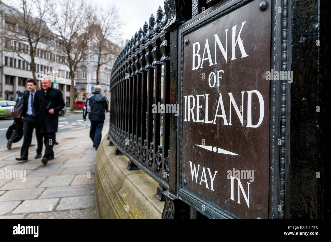Bank of Ireland sign in Westmoreland Street, Dublin, Ireland - Stock Image