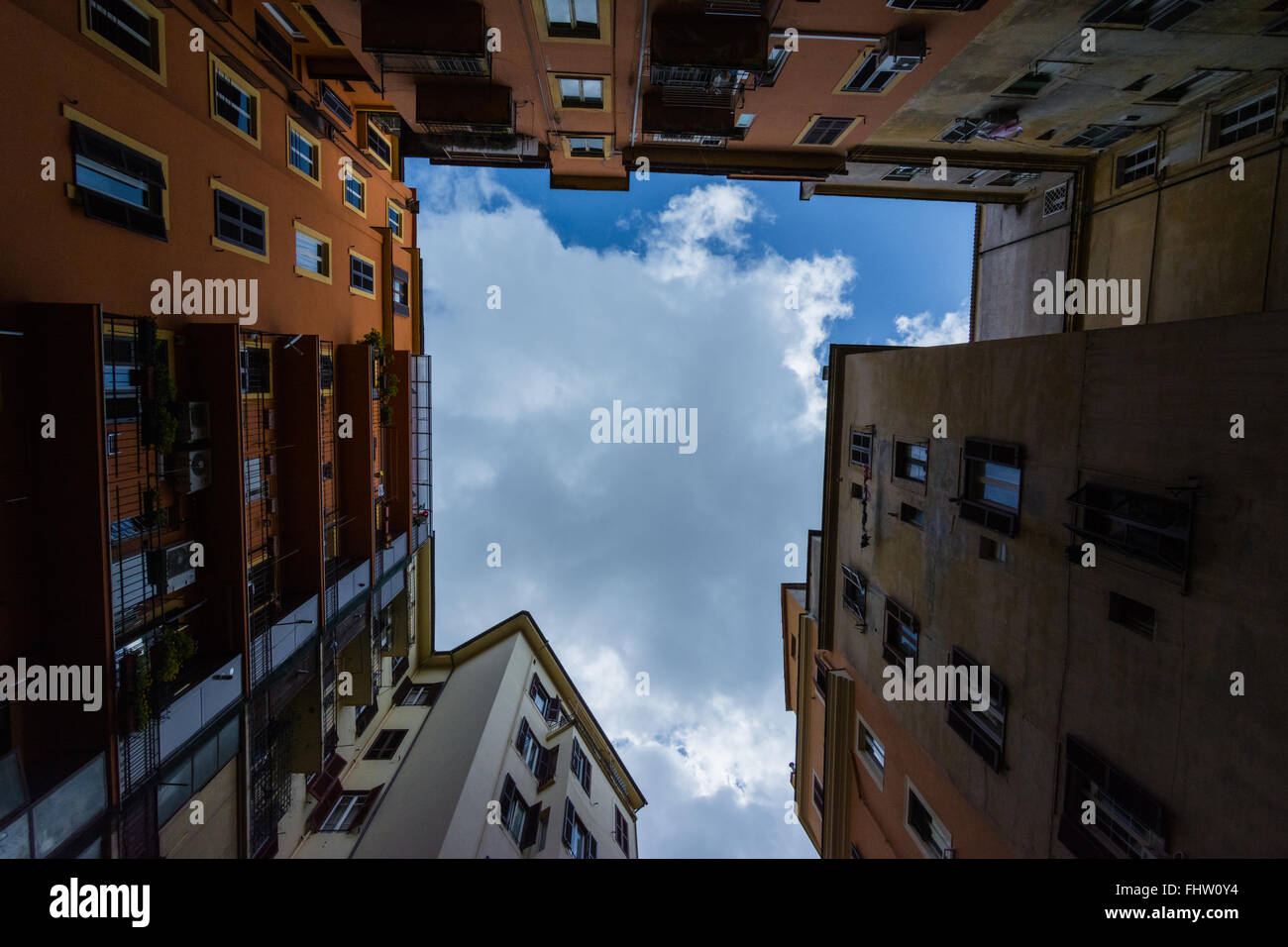 Looking up at the urban sprawl. - Stock Image