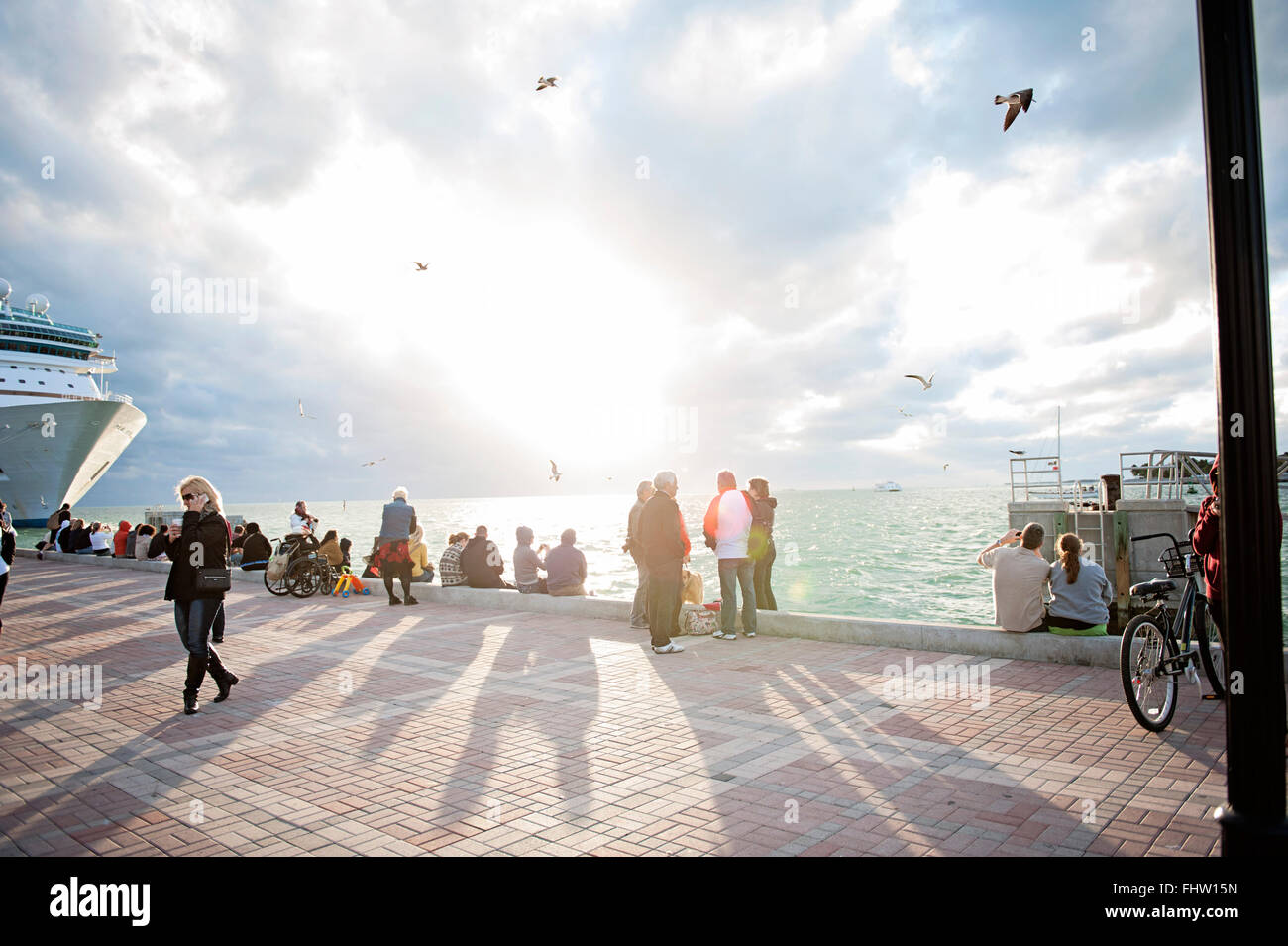 Waiting for sunset at Mallory Square - Stock Image