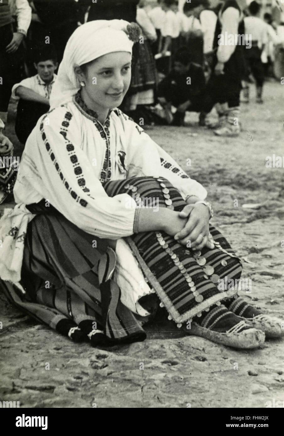 Peasant woman in traditional costume, Pleven, Bulgaria - Stock Image