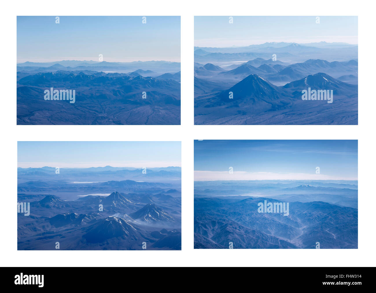 Grid style photo set collection of aerial view of andes mountains landscapes window plane shots. - Stock Image