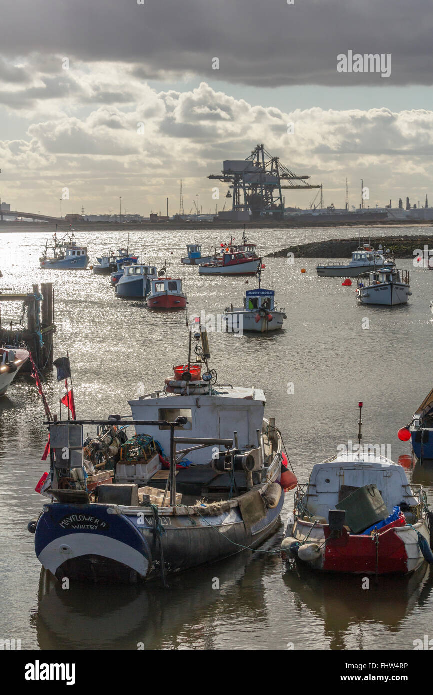Fishing boats moored at Paddy's Hole, South Gare, Redcar and Cleveland, February 2016. - Stock Image