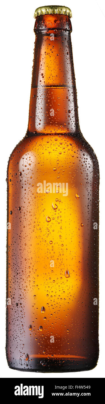 Cold bottle of beer with compensated water drops on it. File contains clipping paths. - Stock Image