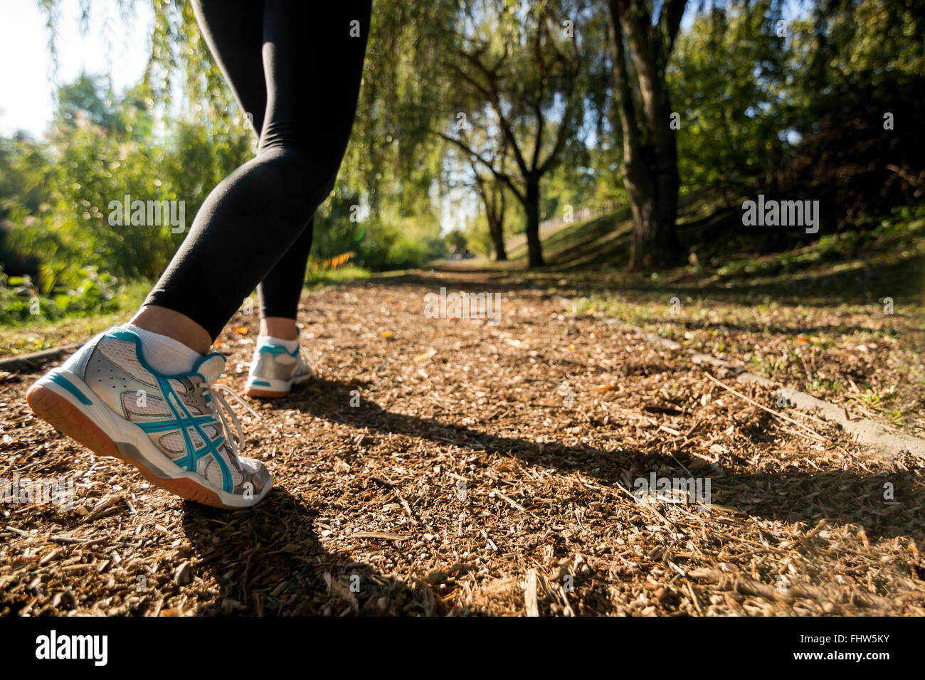 Closeup of runner feet jogging in nature - Stock Image