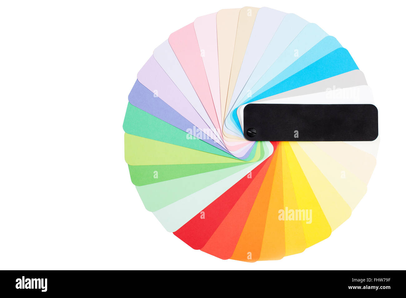 Round color pantone palette. A lot of colors sample isolated on white - Stock Image