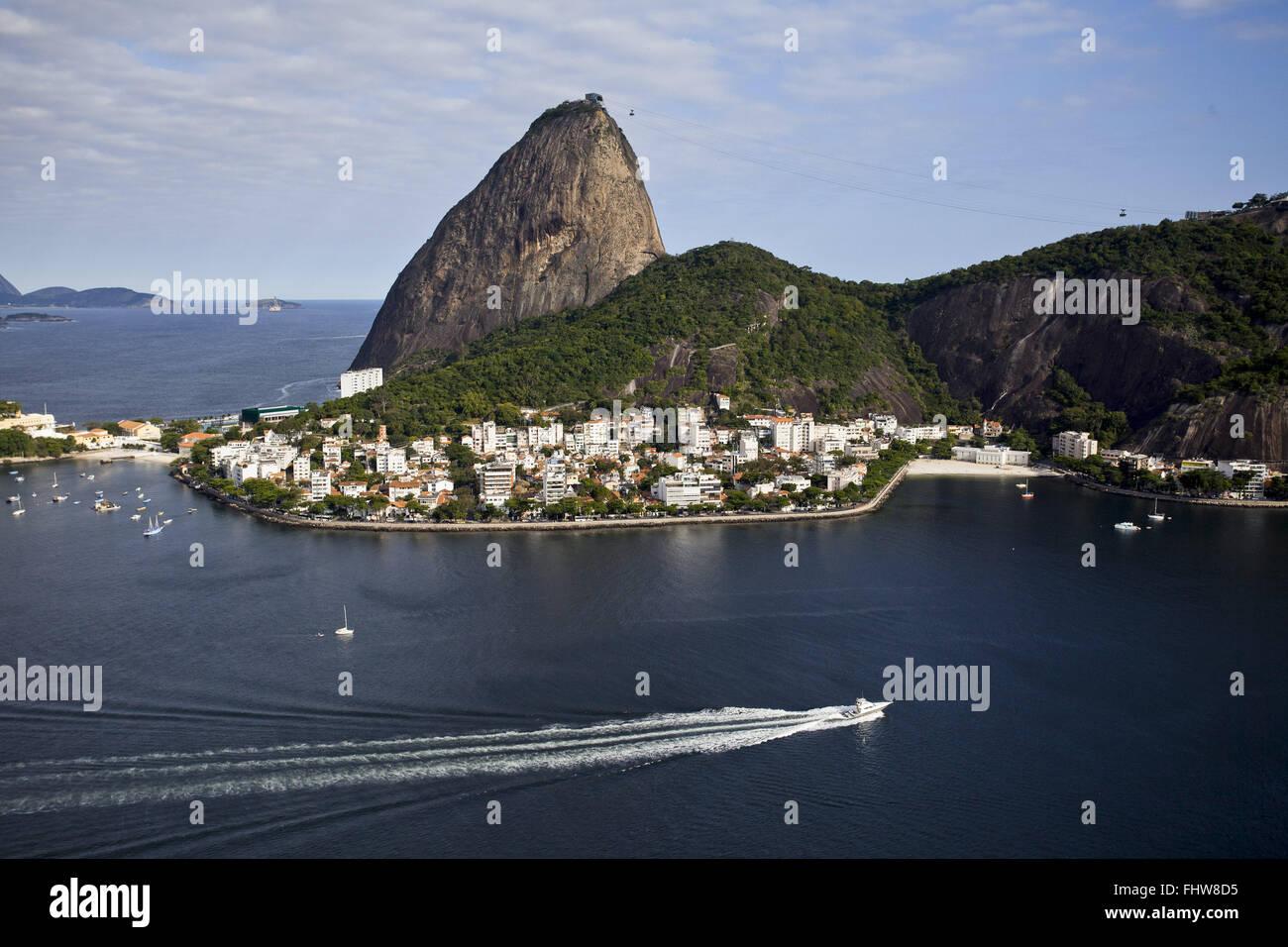 Aerial view of Sugar Loaf and Morro da Urca - Urca - southern city Stock Photo