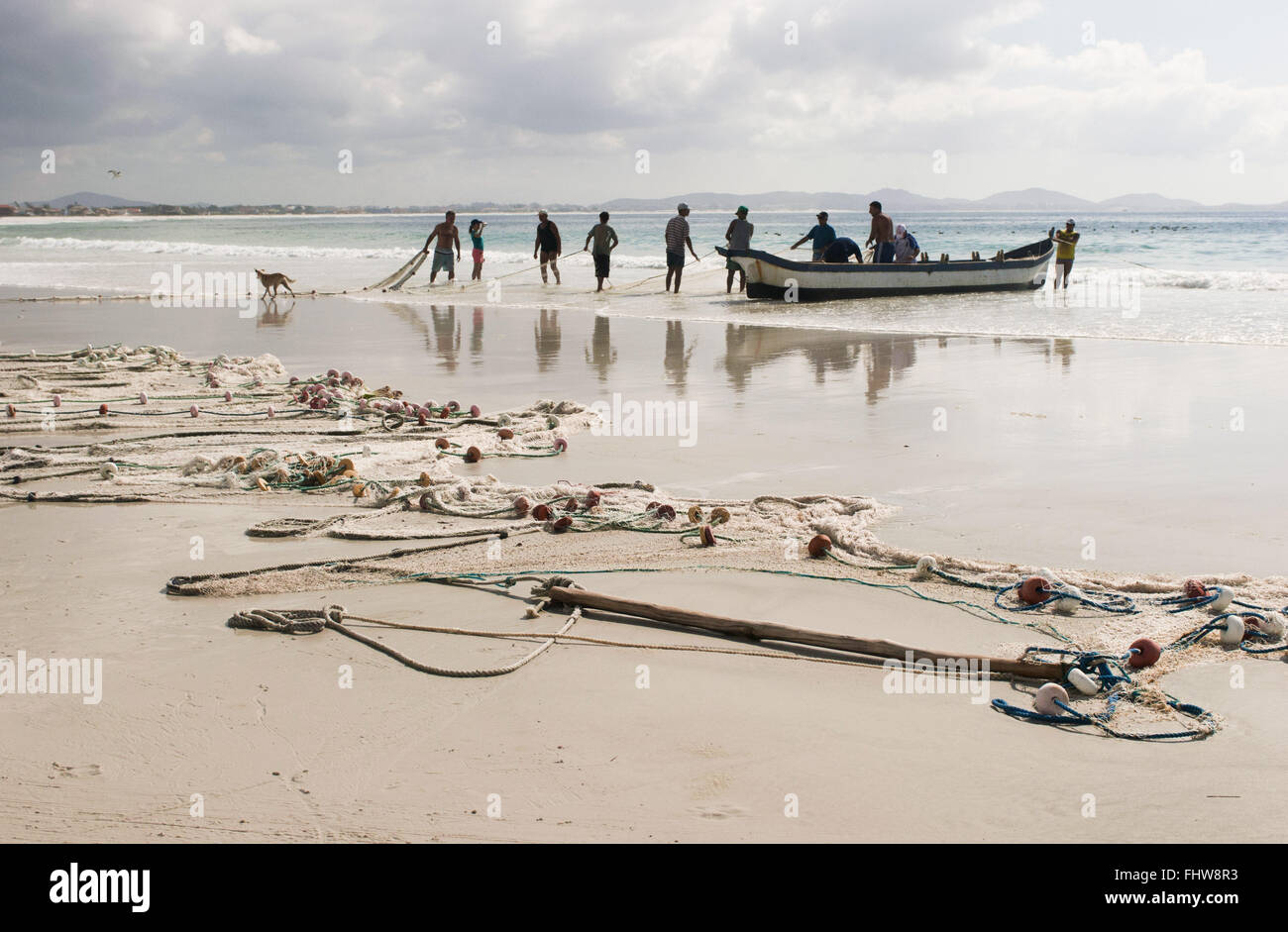 Network of artisanal fisheries and fishermen in Pontal - Stock Image