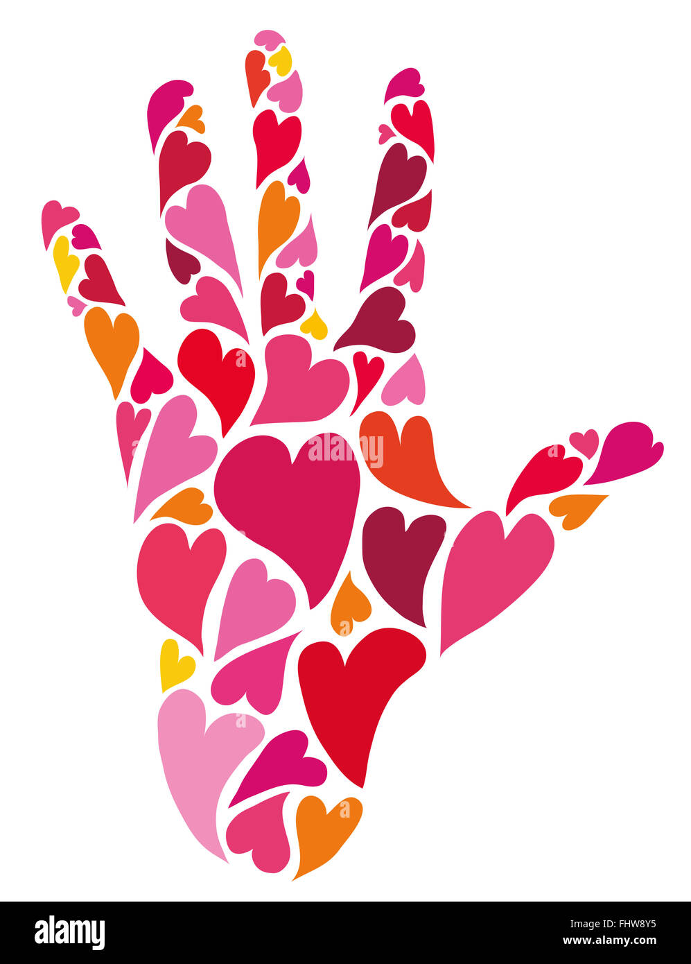 Caring hand made of hearts. Love symbol. - Stock Image