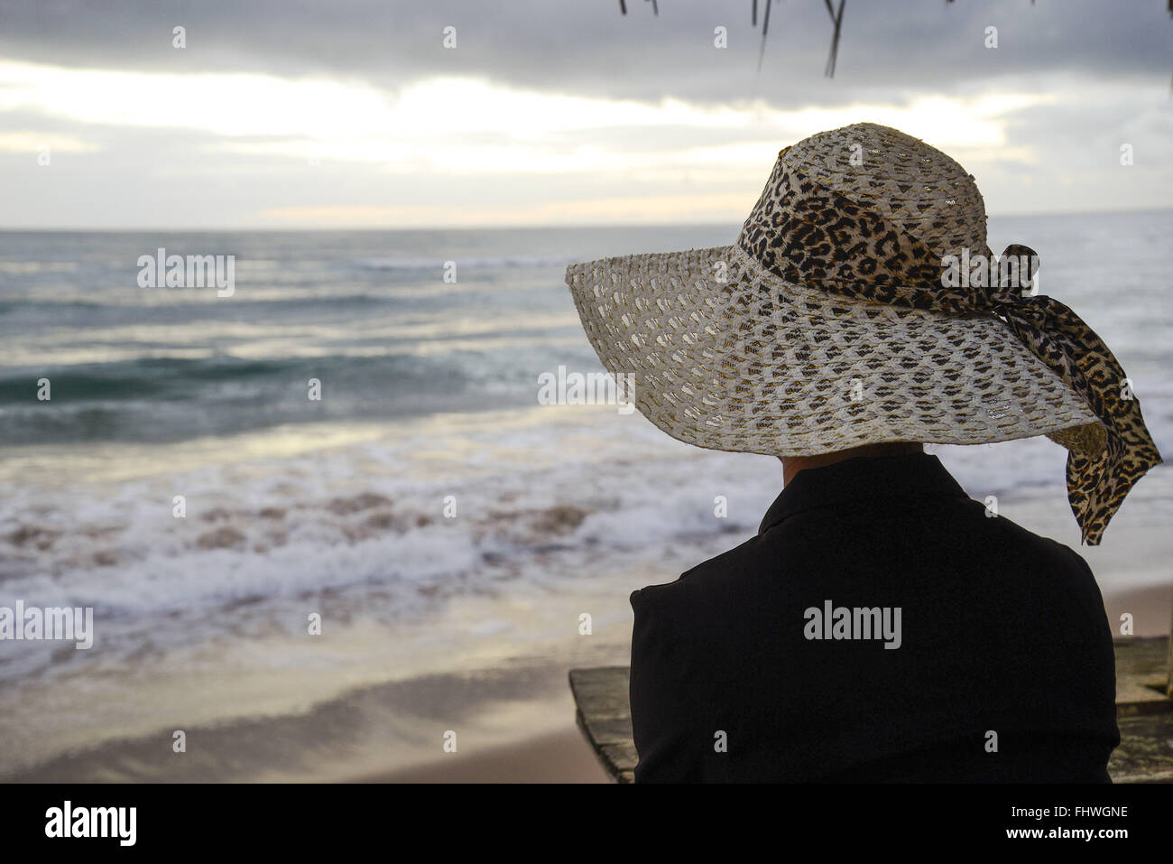 Woman with straw hat contemplating the sea in Algodoes Beach - Peninsula of Marau - Stock Image