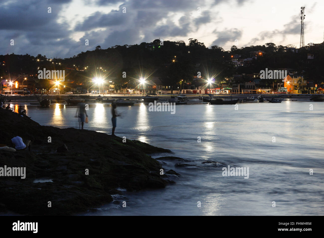 Dusk on the beach of the Crown or Chaplet seen from the viewpoint of Ponta do xareu - Stock Image