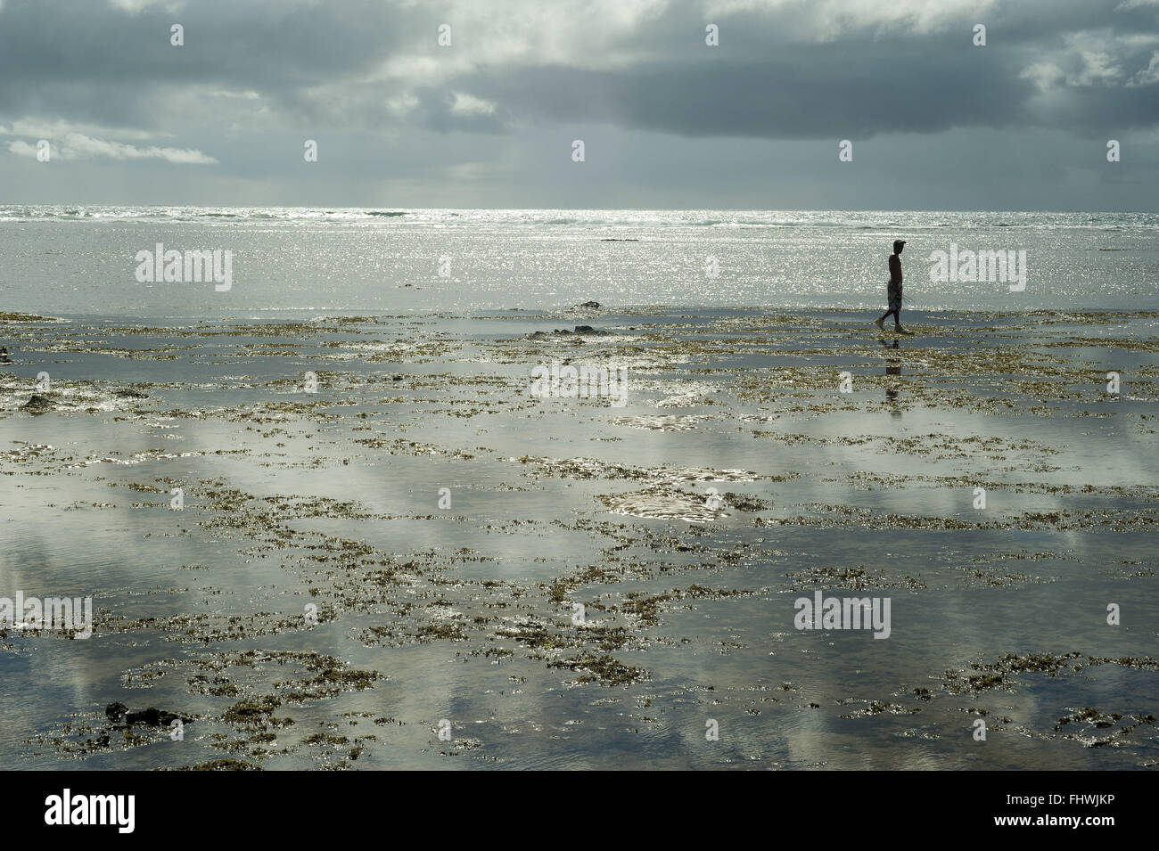 Puddles formed by the mare and coral reefs in the Taipu Praia de Fora - Stock Image