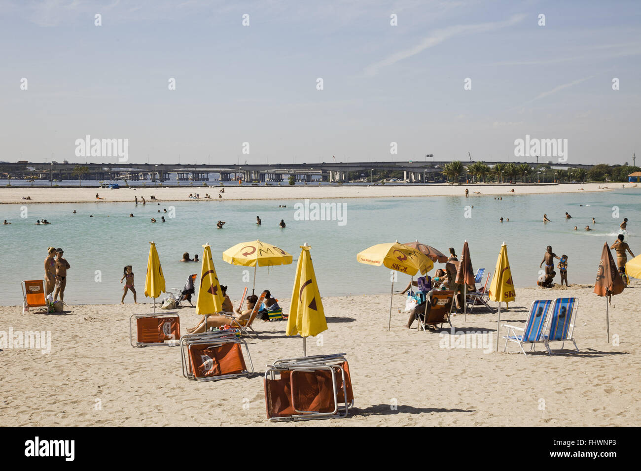 Of Palm Beach or Palm Piscinao Environmental Park - leisure area on a winter day - Stock Image