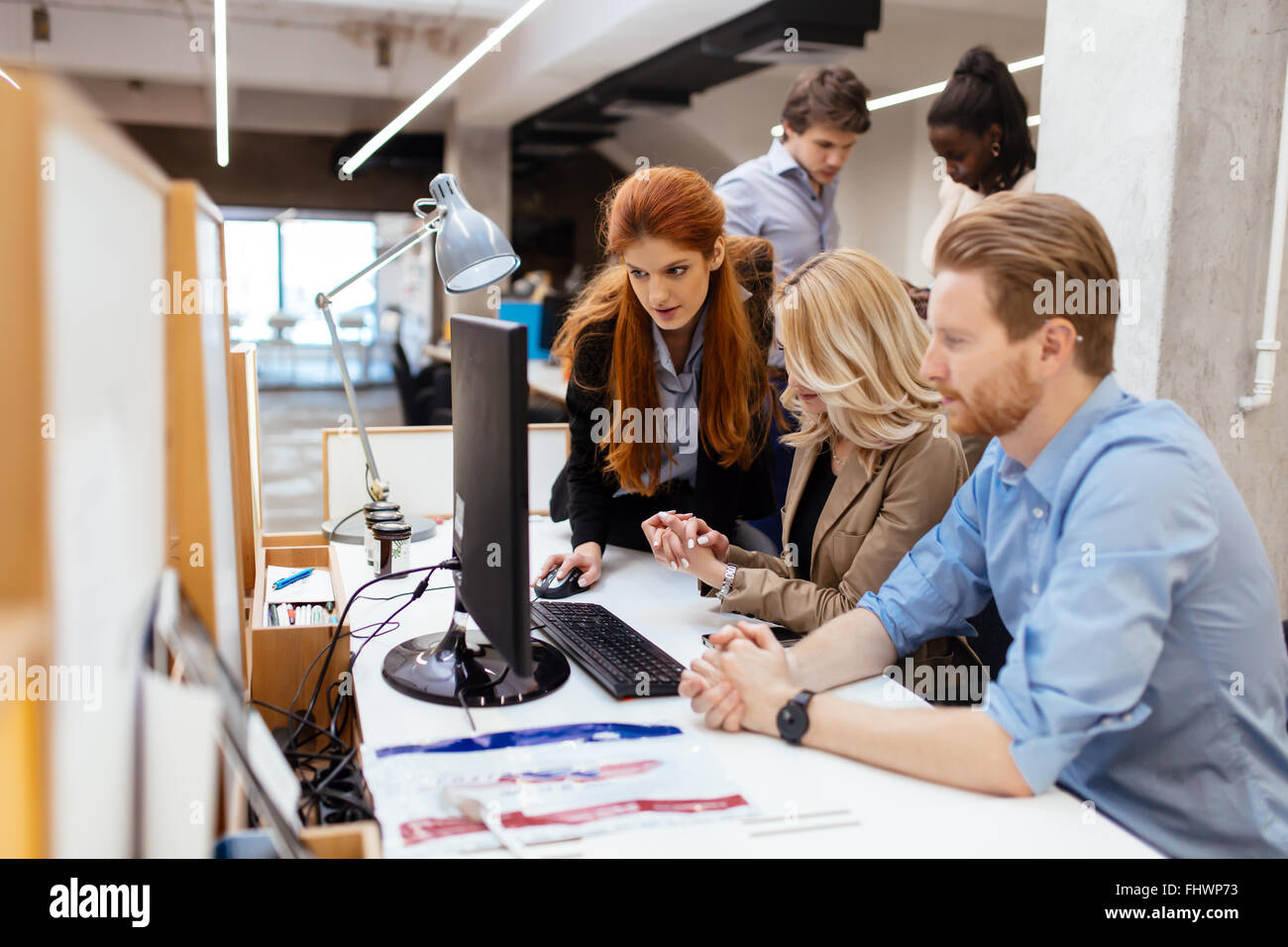 Lifestyle of businesspeople in modern office - Stock Image