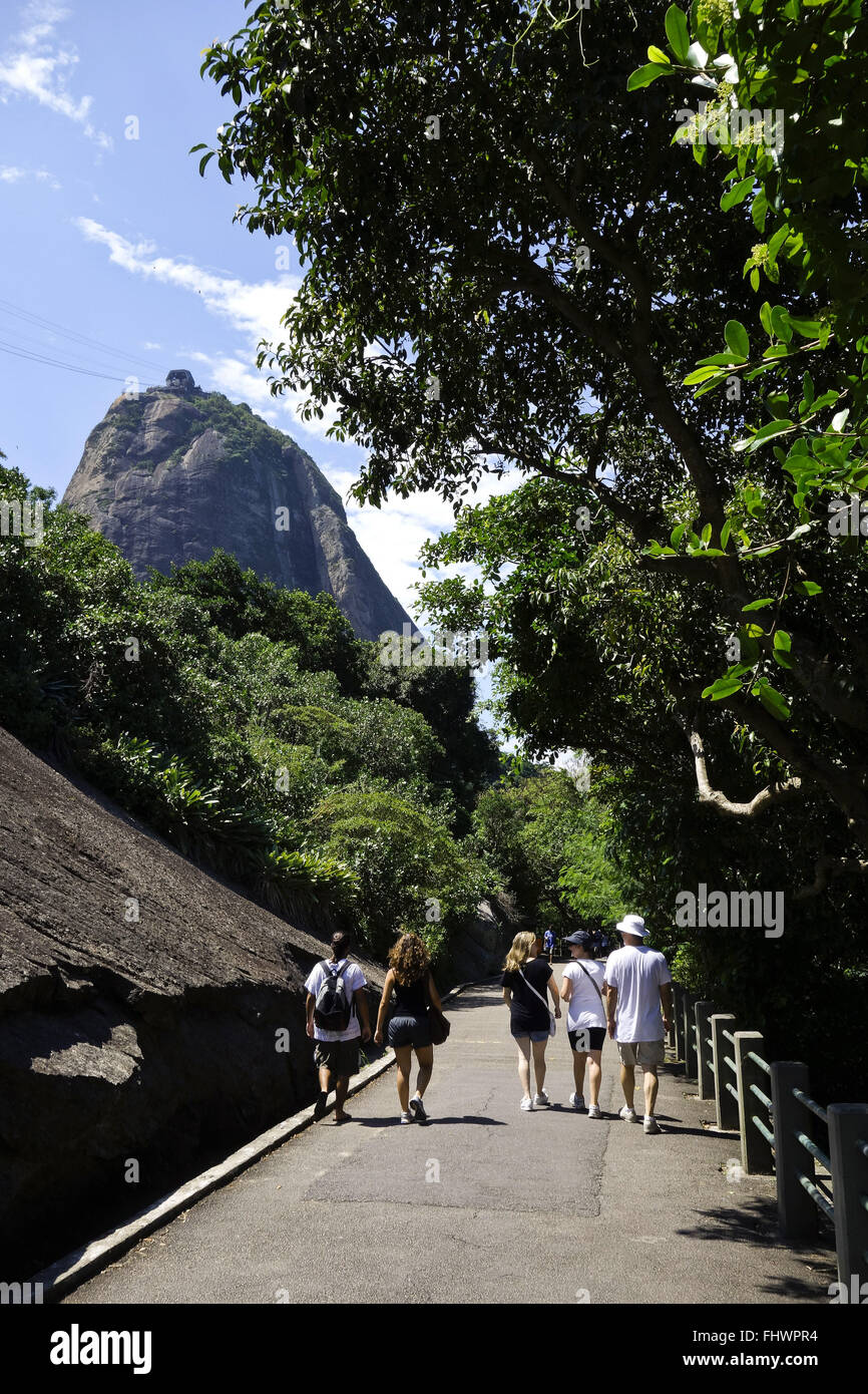 Pista Claudio Coutinho - place for hiking with trails that surround the Morro da Urca Stock Photo