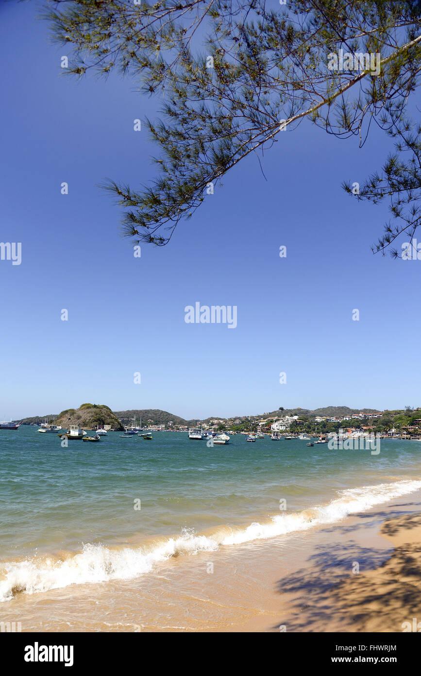 Beach Frame cm Orla Bardot in the background - Lakes Region - Stock Image
