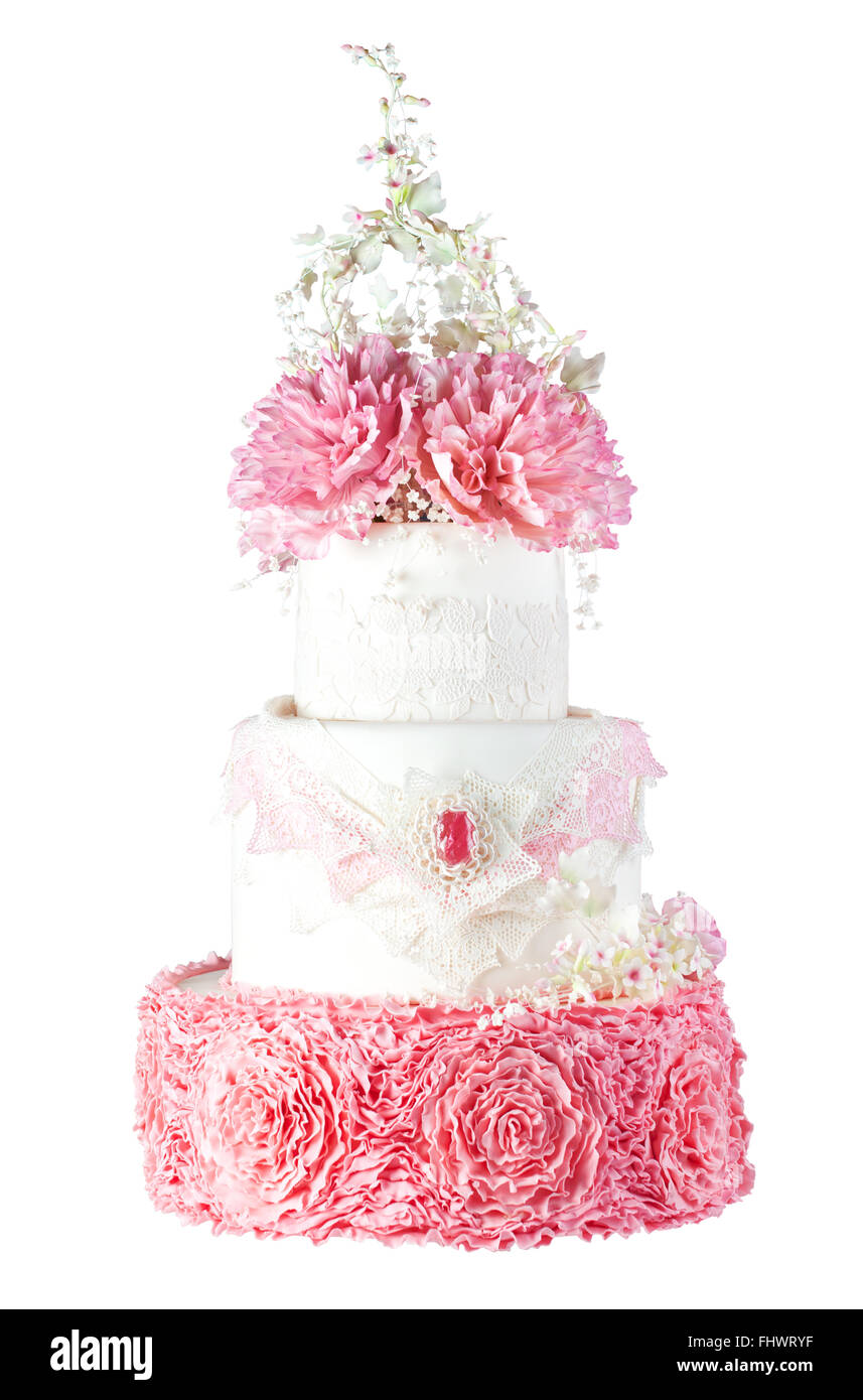 White and pink red wedding cake decorated with peony flowers and ...