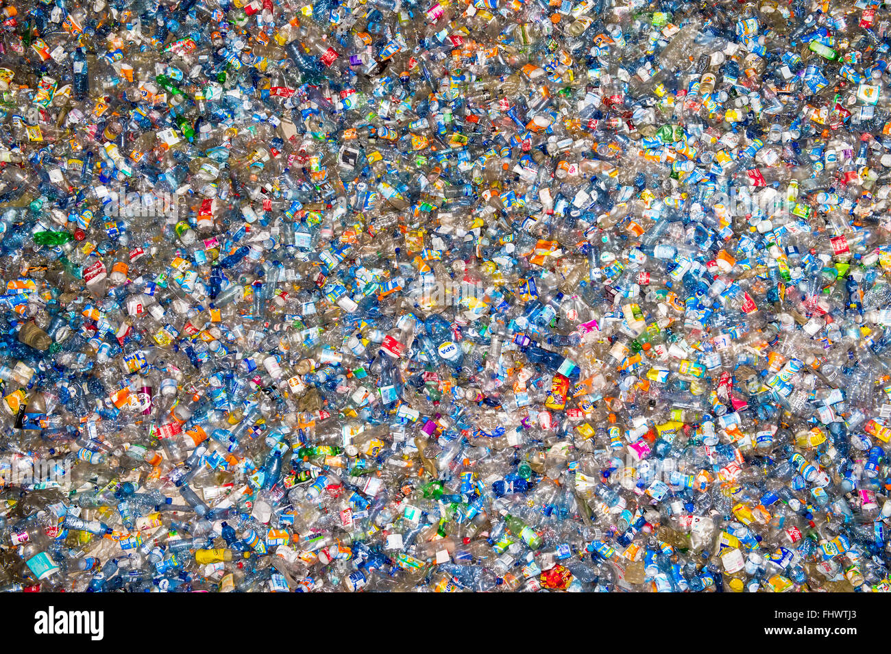 """Amsterdam, The Netherlands, 26th February 2016: 100,000 plastic bottles at the installation """"Plastic Soup"""". The Stock Photo"""