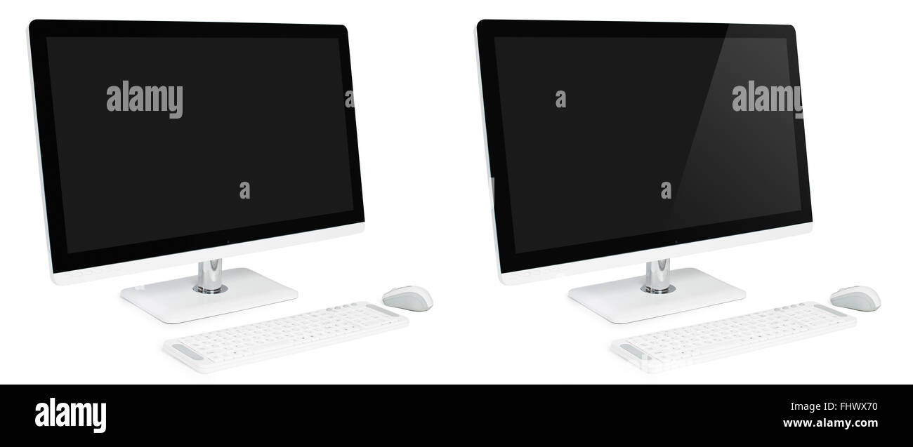 Modern business white desktop computer with large widescreen display, keyboard and mouse. All in one computer - Stock Image