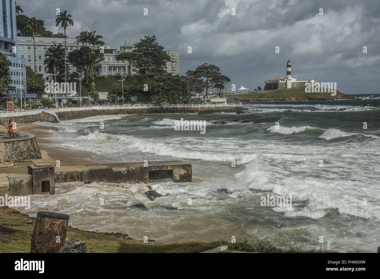 Porto da Barra with Forte de Santo Antonio da Barra and Farol da Barra to the bottom - Stock Image