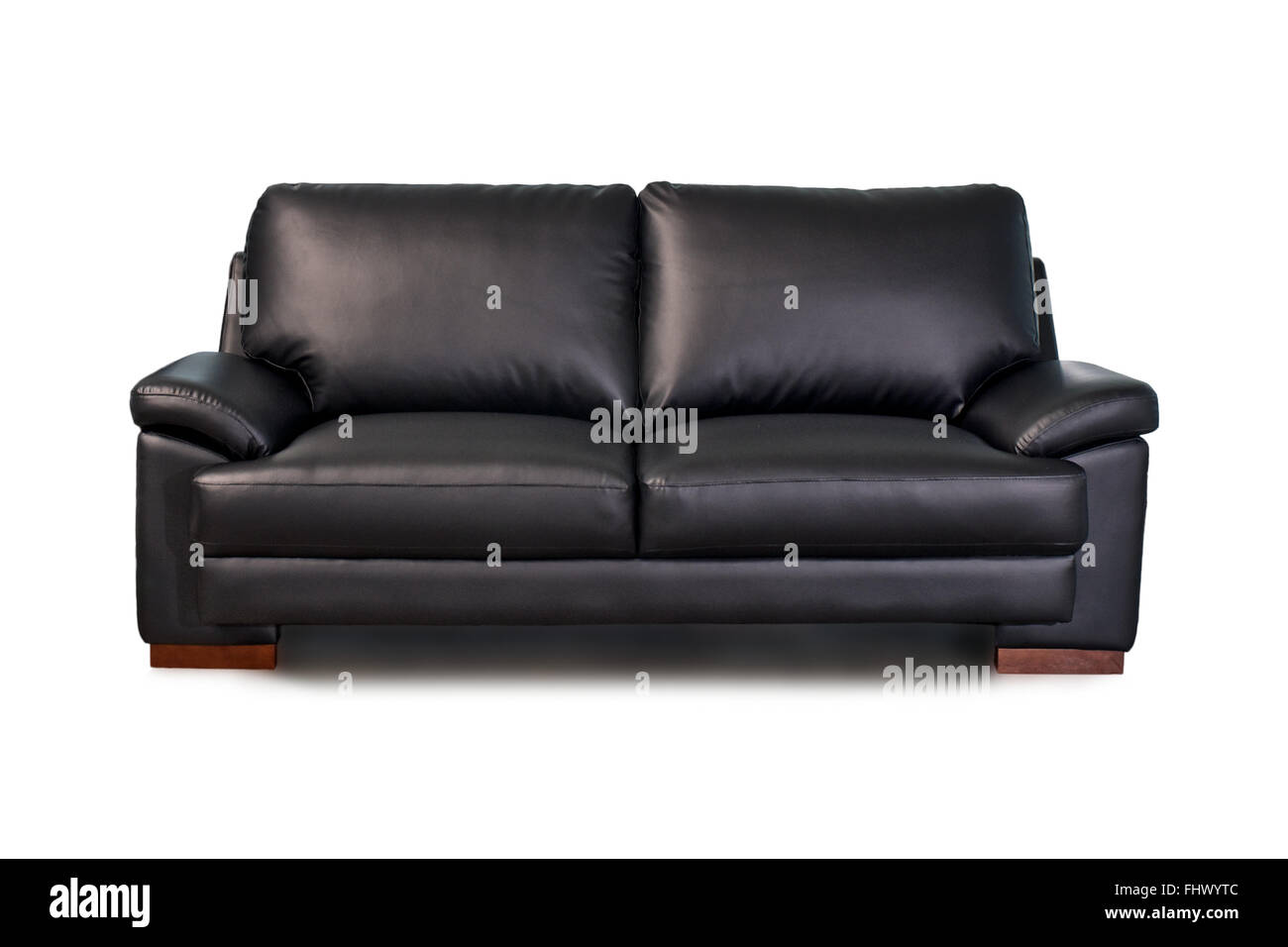 Black leather sofa isolated on white background Stock Photo ...