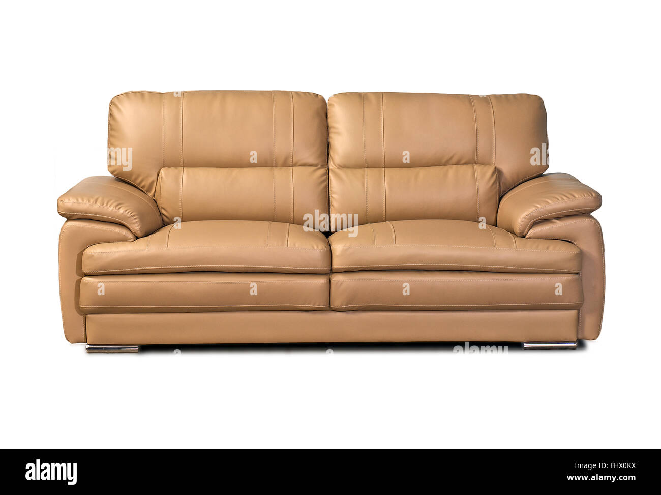 Light brown leather sofa isolated on white background Stock Photo