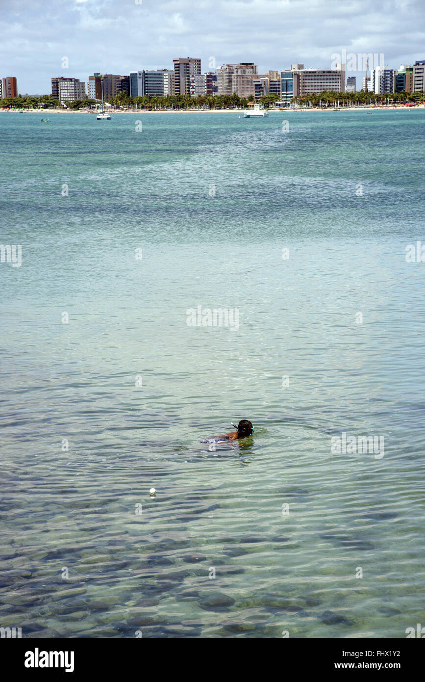 Snorkeling in Ponta Verde beach - Stock Image