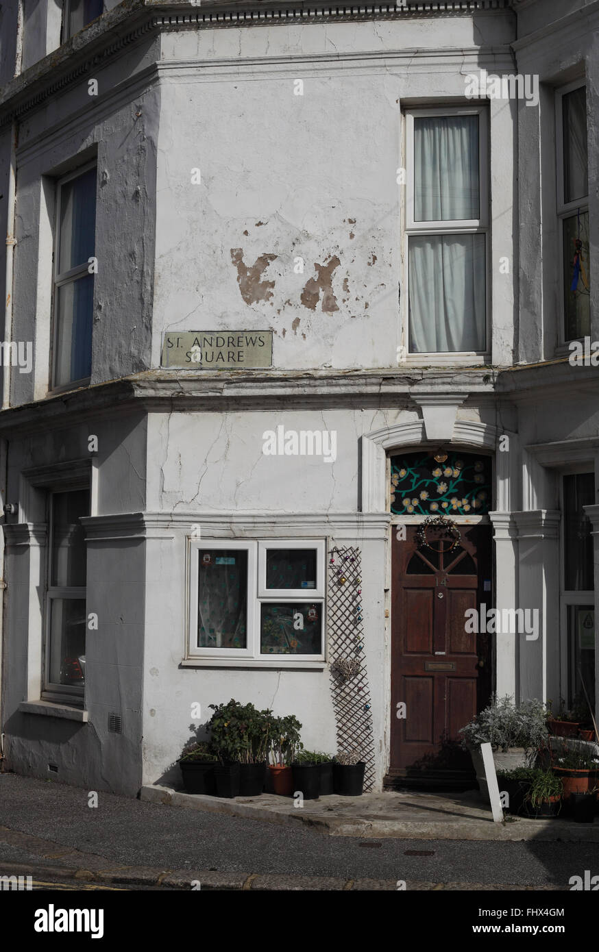 Typical house in need of TLC in St Andrews Square, Hastings, East Sussex, UK - Stock Image